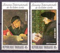 Togo (Togolaise) 1975 Letter Writing, Painting (2v) MNH (M-40) - Togo (1960-...)