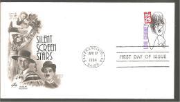 FDC 1994 SILENT SREEN  STARS - Ersttagsbelege (FDC)