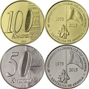 ANGOLA 2015 100 - 50 KWANZAS QUARANTESIMO ANNIVRSARIO INDIPENDENZA NAZIONALE - Angola