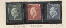 Grece N° 542 à 544** Serie Complete Effigie Georges II Surchargée (3 Timbres) - Nuevos