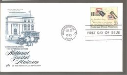 FDC 1993  NATIONAL POSTAL  MUSEUM - 1991-2000