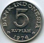 Indonesie Indonesia 5 Rupiah 1974 Planning Familiale KM 37 - Indonésie
