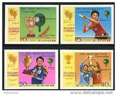 Korea 1977, SC #1578-81, Imperf, Table Tennis Championships - Tenis De Mesa