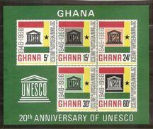 1966 Ghana UNESCO 20° ANNIVERSARIO Foglietto Di 5v. (23) MNH** - UNESCO