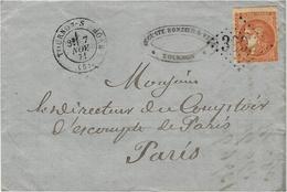 1871- Lettre De TOURNON-S-RHONE ( Ardèche Affr. Bordeaux 40 C  ( Court ) Oblit. G C 3992 Pour Paris - 1849-1876: Classic Period