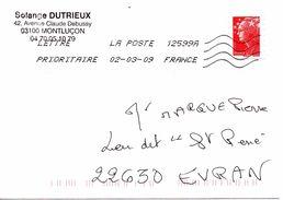 Enveloppe Oblitération LA POSTE 12599A 02/03/2009 - Sellado Mecánica (Otros)