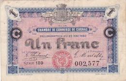 Chambre De Commerce De Cognac - Un Franc - Série 159 - 22 Mai 1920 - Sans Filigrane - Chambre De Commerce