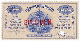 (I.B) Haiti Revenue : Tobacco Duty 1lb (ABN Specimen) - Haiti