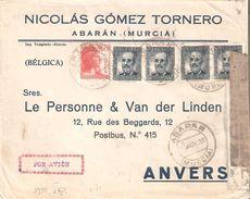 Lettre Par AVION  TP 564(4)-618 ABARAN/MURCIA 16//11/1938 V/ANVERS - Censure Recto-verso - Republicans Censor Marks