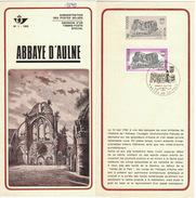 B36  Abbaye D'Aulne 1969 - Oblitéré Sur Folder Officiel De La Poste - Documenti Della Posta