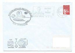 16034 - TCD OURAGAN - MISSION ANTILLES - PACIFIQUE 97-98 -- MARTINIQUE - TAHITI - Scheepspost