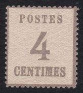 FRANCE 1870 ALSACE-LORRAINE YT N° 3 4c Gris-lilas Neuf , ** - Alsace-Lorraine