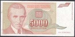 Yugoslavia:- 5000 Dinara/P.128 (1993):- VF - Yugoslavia