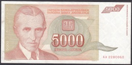 Yugoslavia:- 5000 Dinara/P.128 (1993):- VF - Joegoslavië