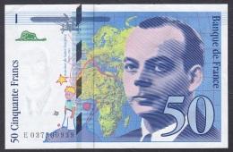 France:-50 Francs/P.157Ad (1997):- EF - 50 F 1992-1999 ''St Exupéry''
