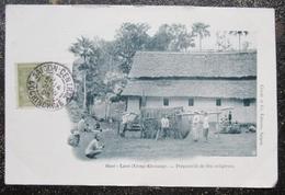Laos Xieng Khouang Preparatifs Fete Religieuse Cpa Timbrée 1905  Cpa - Laos