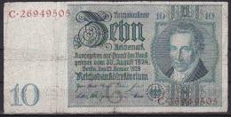 Germany/Weimar Rebublic:- 10 Reichmark/P.180a (Watermark A. D. Thaer):- VG - [ 3] 1918-1933 : República De Weimar