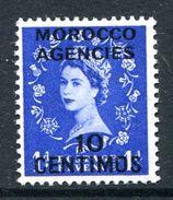 Morocco Agencies - Spanish Currency - 1954-55 QEII GB Overprints (Tudor Crown) - 10c On 1d Ultramarine HM (SG 188) - Uffici In Marocco / Tangeri (…-1958)