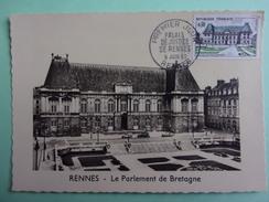 CARTE MAXIMUM FRANCE 1962 PALAIS DE JUSTICE DE RENNES - Maximumkaarten