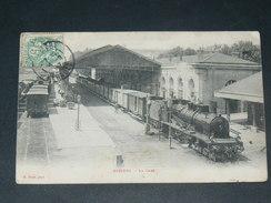 BEZIERS   1907  LA GARE AVEC TRAIN A VAPEUR   CIRC  EDIT - Beziers