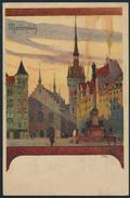 Ansichtskarte Litho Jugendstil 1897 Künstler Kley München Marienplatz - Deutschland
