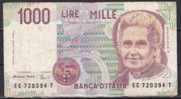 Italy:- 1000 Lire/114c (Fazio/Amici):- F - [ 2] 1946-… : République