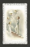 HOLY CARD Vintage Religious Canivet Lace 1st Communion Children Boy Angels Z1 - Other Collections