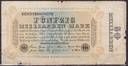 Germany/Weimar:- 50 Millarden Mark/P119d (Without Serial):- VG - [ 3] 1918-1933 : Weimar Republic
