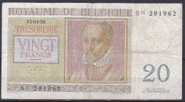 Belgium:- 20 Francs/P.132b (Williot/03.04.56):- VG - [ 6] Treasury