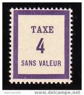 FRANCE FICTIF TAXE N°  FT4 ** Timbre Neuf Gomme D'origine Sans Trace De Charnière - TB - Phantom