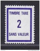 FRANCE FICTIF TAXE N° FT37 ** Timbre Neuf Gomme D'origine - TB - Fictifs
