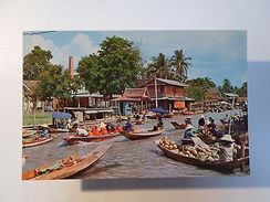 ASIA ASIE THAILAND BANGKOK FLOATING MARKET WAT SAI MARCHÉ 1960 YEARS POSTCARD Z1 - Postcards