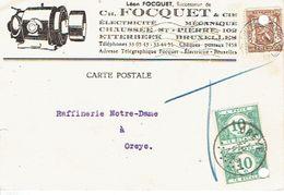 Carte Postale Publicitaire Léon FOCQUET à ETTERBEEK Taxée 20c 2TX33 Oblit. BRUXELLES Vers OREYE 31.12.1938 + T Crayon Bl - Postage Due