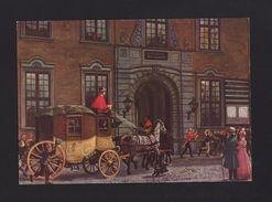 ART POSTCARD 1960years DENMARK POST MAIL Horse DILIGENCE Copenhagen Købmagergade - Postcards