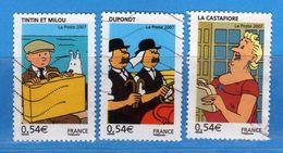 Francia ° - 2007- TINTIN -   Yvert  4051-4054-4053   Oblitéré.   Vedi Descrizione. - Oblitérés