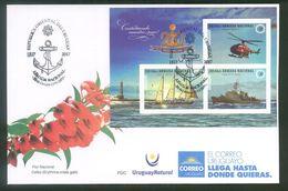 URUGUAY-2017 FDC  -200 Años De La Armada Nac.TT: Barcos, Anclas, Faros,Soles,Helicópteros - Sobres