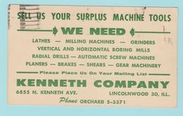 OM.5 USA Entier Postal Repiqué Postal Stationery  Surplus Machine Tools  Chicago 1.Mars 1959 (2 Trou D'agrafes) - 1941-60