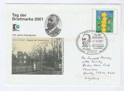 2001 Geestha GERMANY EVENT COVER  ALFRED NOBEL , Nobel Prize,Dynamite, Postal STATIONERY Stamps - Nobel Prize Laureates