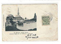 SALONIQUE 1908 Poste Autrichienne  Salonich Österr.Post Tp Surcharge 10 Para Cp Turquie Pour Abbeville - 1858-1921 Empire Ottoman
