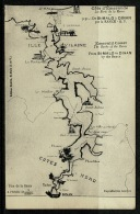 RB 1179 - Super Early Map Postcard - Ille Vilaine France - St Malo To Dinan Cotes Nord - Maps