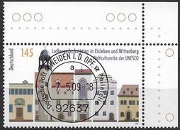 2009 Allem. Fed. Deutschland Mi. 2736 EOR  FD-used Weiden   UNESCO-Welterbe : Luthergedenkstätten In Eisleben Und - [7] República Federal