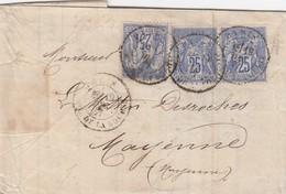 LETTRE. 19.12.1877.PARIS BOURSE. SAGE 25c X3 N°79. POUR MAYENNE. FISCAL 10c. BORDEREAU BANQUE THELLIER & HENROTTE / 2 - Marcofilia (sobres)