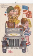 CPSM Militaire Militaria Libération Américain JEEP Good Luck Humour Illustrateur LECLERC - Leclerc