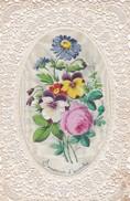 ¤¤  -  Carte Religieuse  à Dentelle Et Tissus (Soie ?? )  -  Souvenir D'Amitié  -  Voir Description - Fleurs