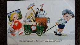CPA DESSIN D ENFANTS JOHN WILLS LE DEMENAGEMENT - Dessins D'enfants