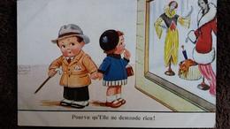CPA DESSIN D ENFANTS JOHN WILLS VITRINE MODELES MODE ART DECO POURVU QU ELLE NE DEMANDE RIEN - Dessins D'enfants