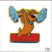 Pin's Sport - Haltérophilie / Club De Villeneuve St Georges (94) Avec Chien. Est. Ballard. Zamac. T551-08 - Weightlifting