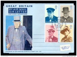 AEROGRAMME AEROGRAM 1974 * UNITED KINGDOM UK GB * COMPLETE SET WINSTON CHURCHILL * 1st DAY CANCEL - Entiers Postaux