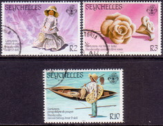 SEYCHELLES 1984 SG #580-82 Part Set Used Only 50c Stamp Missing Traditional Handicrafts - Seychelles (1976-...)