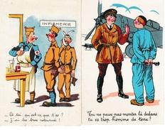 2 Cartes 1940 - Aviateur Et Infirmerie - Soldat Et Mécanicien - Humoristiques